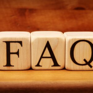 Building blocks spelling out faq
